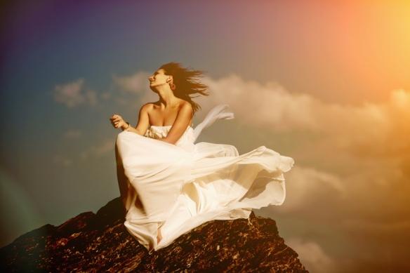 novia vestido viento